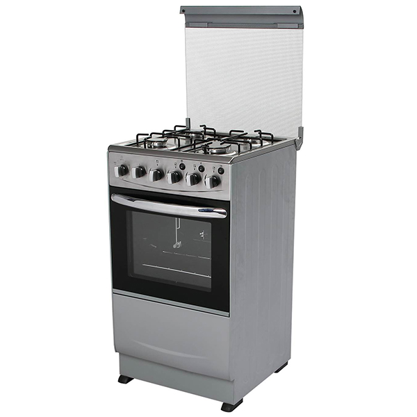 Free Standing Gas Oven with Four Burners Gas Stoves,Glass Cover,Stainless Steel Top Plate